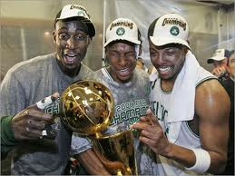 """Ray Allen to Heat. Garnett, Allen and Pierce celebrate being champs."""