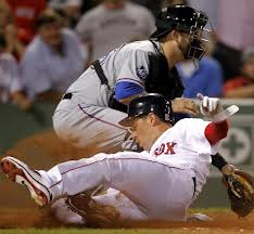 """Boston Red Sox Carl Crawford slides home"""