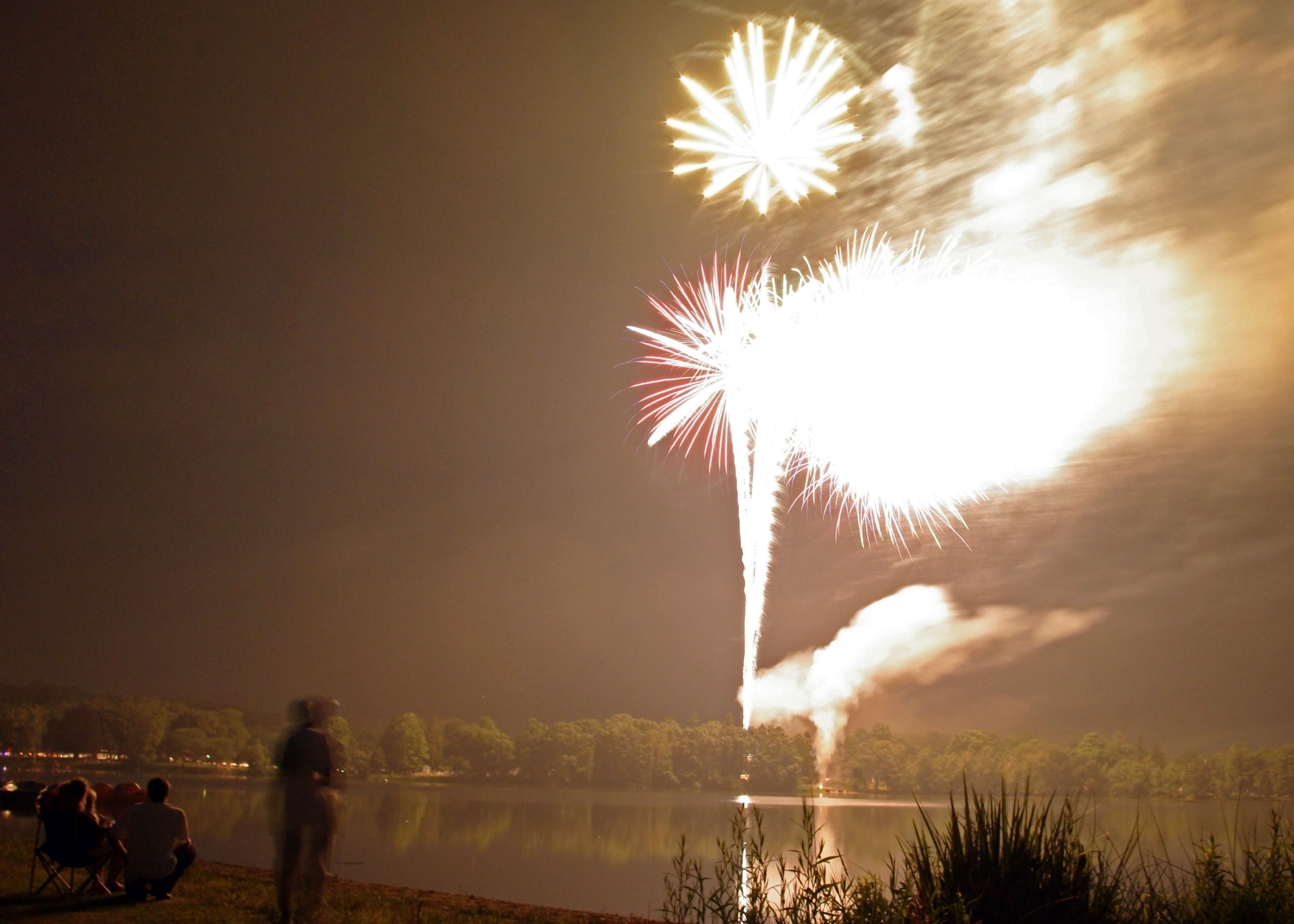 Part of the Finale at the July 4th fireworks display over Lake Quannapowitt, Wakefield, Massachusetts
