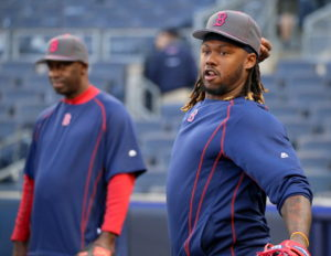 Hanley Ramirez plays catch during batting practice at Yankee Stadium.
